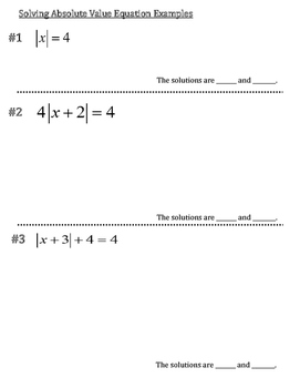 Solving Absolute Value Equations Graphic Organizer