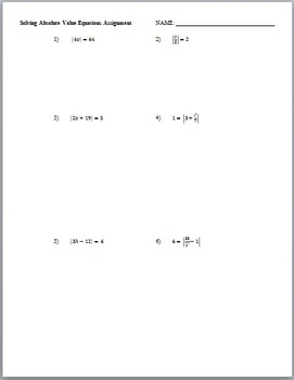 Solving Absolute Value Equations (Guided Notes and Assessment)