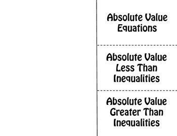 Solving Absolute Value Equations & Inequalities Foldable