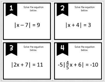 Solving Absolute Value Equations & Inequalities (Task Cards)
