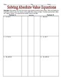 Solving Absolute Value Equations Partner Worksheet