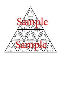 Solving Absolute Value Equations Tarsia Puzzle