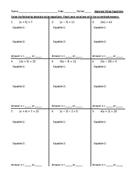 Solving Absolute Value Equations With Scrambled Answers