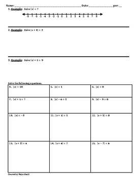 Solving Absolute Value Equations Worksheet