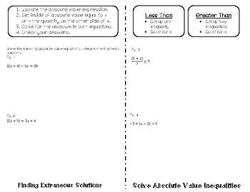 Solving Absolute Value Equations and Inequalities Flipbook