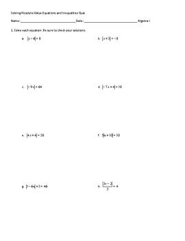 Solving Absolute Value Equations and Inequalities Quiz