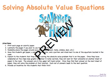 Solving Absolute Value Equations with Scavenger Hunt