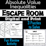 Solving Absolute Value Inequalities Activity: Algebra Escape Room Math