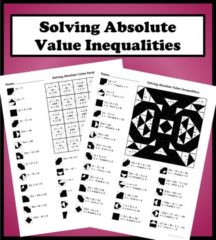 Solving Absolute Value Inequalities Color Worksheet