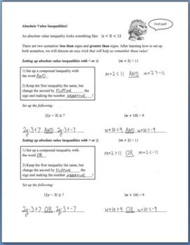 Solving Absolute Value Inequalities (Guided Notes)