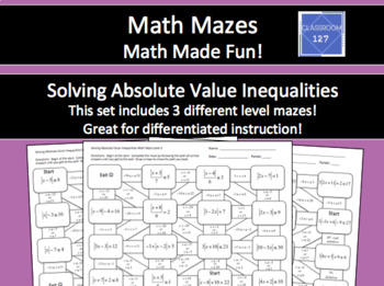 Solving Absolute Value Inequalities Math Maze