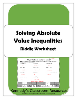Solving Absolute Value Inequalities - Riddle Worksheet