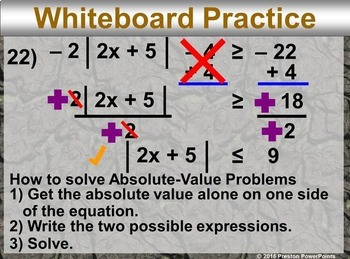 (Alg 1) Solving Absolute-Value Inequalities in a PowerPoint Presentation