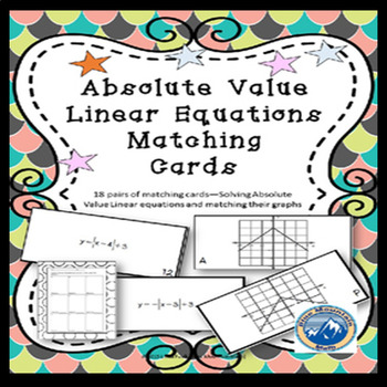Solving Absolute Value Linear Equations Matching Card Set