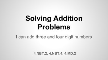 Solving Addition Problems Unit 5.2.1