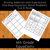 Solving Addition and Subtraction One-Step Equations Word Problems Cut & Paste