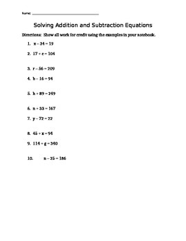 Solving Addition and Subtraction Equations WKST