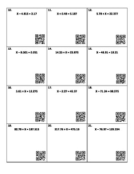 Solving Addition and Subtraction Equations with Decimals & QR Codes