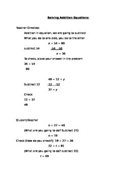 Solving Addtion Equations