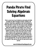 Solving Algebraic Equations Adding and Subtracting Panda Pirate Find