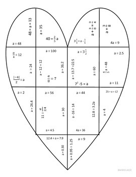 Solving Algebraic Equations Heart Puzzle