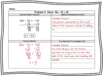 Solving Algebraic Equations; Mistake Analysis