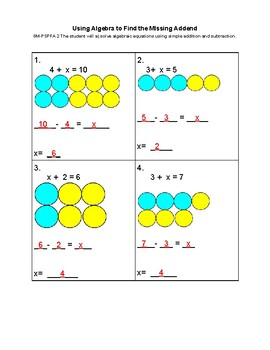 Solving Algebraic Equations With Addition and Subtraction VAAP 8M-PSPFA 2