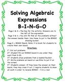 Solving Algebraic Expressions BINGO
