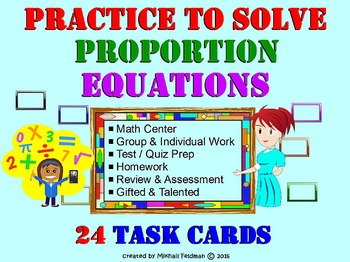 Solve Proportion Equations: 24 Printable Task Cards, Revie