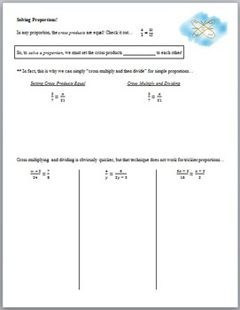 Solving Algebraic Proportions (Guided Notes and Assessment)