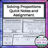 Solving (Algebraic) Proportions Quick Notes and Worksheet