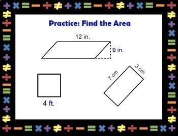 Solving Area Equations Geometry Solve Area Formula Triangles Smartboard Lesson