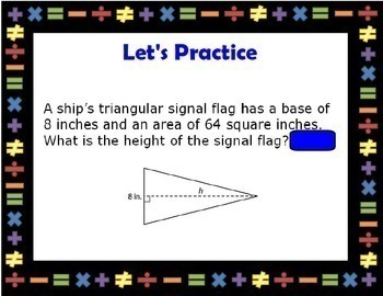 Solving Area Equations Geometry Solve Area Formula Triangles Smartboard Lesson
