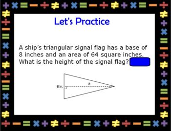Solving Area Equations Geometry Smartboard Lesson with 2 Worksheets ZIP folder