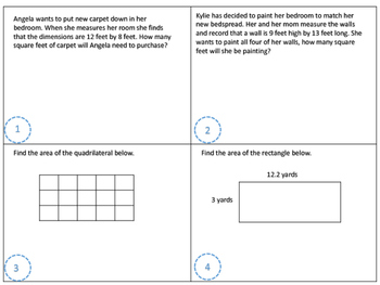 Solving Area Problems Task Cards TEK 5.4H CCSS 4.MD.A.3