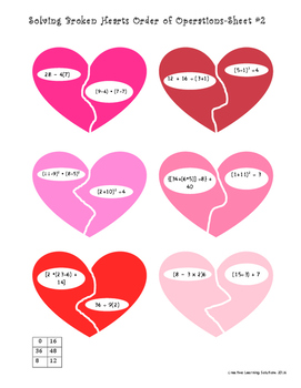 Solving Broken Hearts: Order of Operations for the Middle School