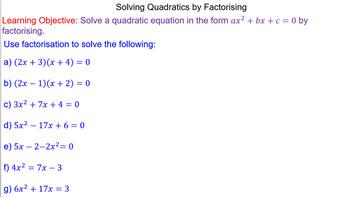 Solving Complex Quadratics by Factorising