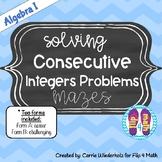 Solving Consecutive Integer Equations Maze