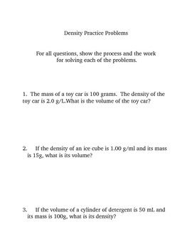 Solving Density Word Problems