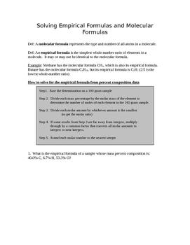 Solving Empirical Formulas and Molecular Formulas Practice Worksheet