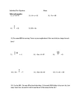 Solving Equarions One Step, Two Step and Multi-Step, 2 Versions w/ Word Problems