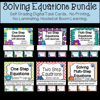 Solving Equation Boom Card Bundle--Digital Task Cards Distance Learning