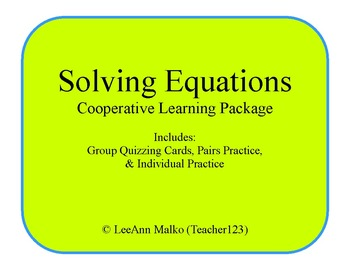 Solving Equations Cooperative Learning Package