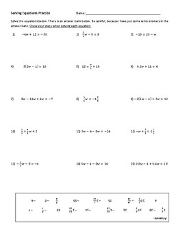 Solving Equation Practice with Answer Bank