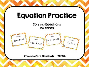 Solving Equation Task Cards (24 cards)