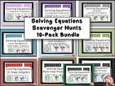 Solving Equations - 10 pack - Math Scavenger Hunts
