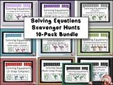 Solving Equations - 10 pack - Scavenger Hunts + 20 Exit Tickets
