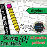 Solving Equations 101; One-Step, Two-Step, Multi-Step, Variables on Both Sides