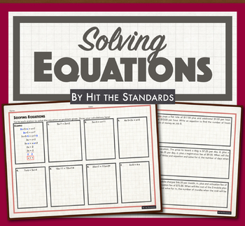 Solving Equations worksheet (one variable on both sides of equal sign)