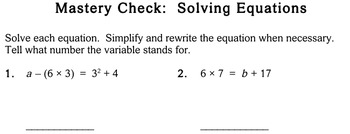 Solving Equations, 4th grade - worksheets - Individualized Math